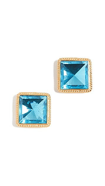 Kenneth Jay Lane Oversized Square Stud Earrings
