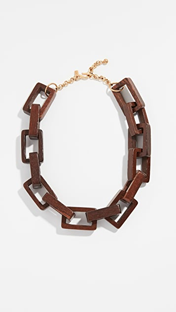 Kenneth Jay Lane Wooden Square Link Necklace