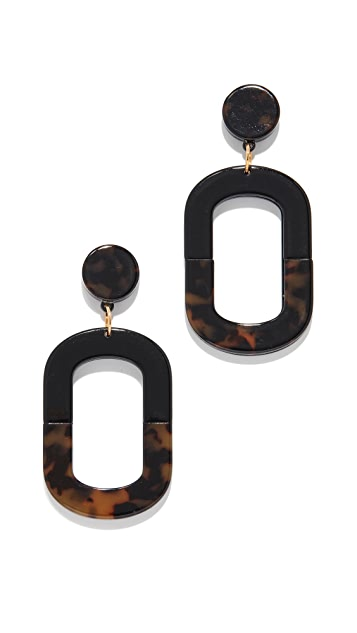 Kenneth Jay Lane Colorblock Oval Earrings