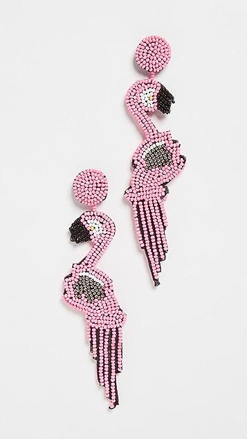 Kenneth Jay Lane Серьги Pink Flamingo