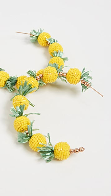 Kenneth Jay Lane Pineapple Hoops