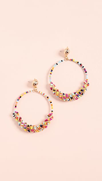 Kenneth Jay Lane Beaded Front Hoops