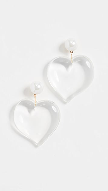 Kenneth Jay Lane Lucite Heart Drop Earrings