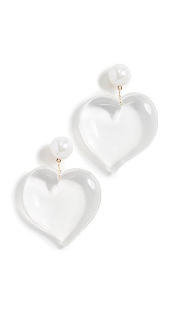 Kenneth Jay Lane Серьги-капли в виде сердечек из люцита