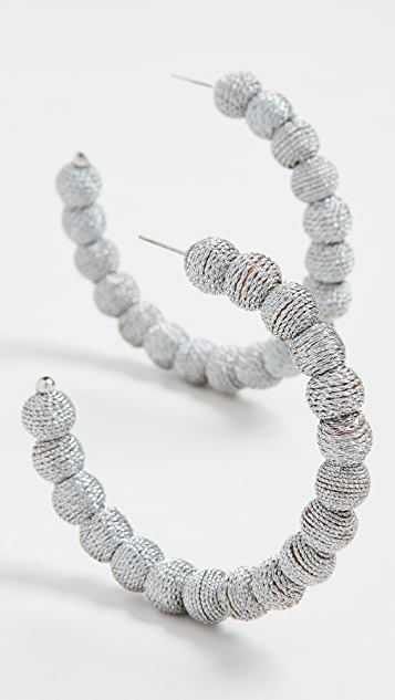Kenneth Jay Lane Threaded Ball Hoop Earrings