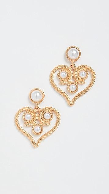 Kenneth Jay Lane Heart Drop Earrings