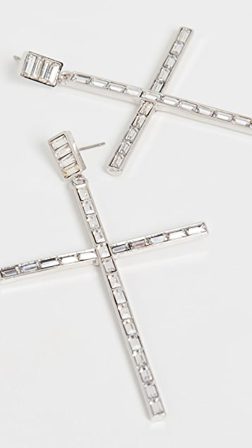 Kenneth Jay Lane Linear Baguette Cross Earrings