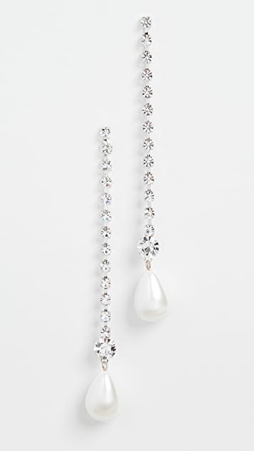 Kenneth Jay Lane Linear Crystal Imitation Pearl Drop Earrings