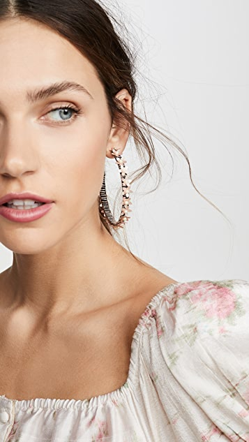 Kenneth Jay Lane Pearlized Flower Hoop Earrings