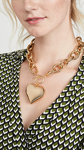 Kenneth Jay Lane Puffed Heart Necklace