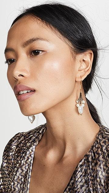 Kenneth Jay Lane Imitation Pearl Heart Earrings
