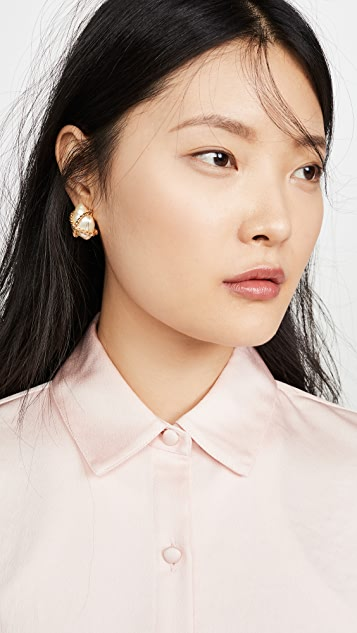 Kenneth Jay Lane Cultural Pearl with Gold Nugget Earrings