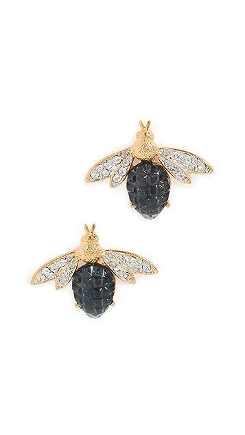 Kenneth Jay Lane Двухцветные золотые серьги в виде пчел с кристаллами