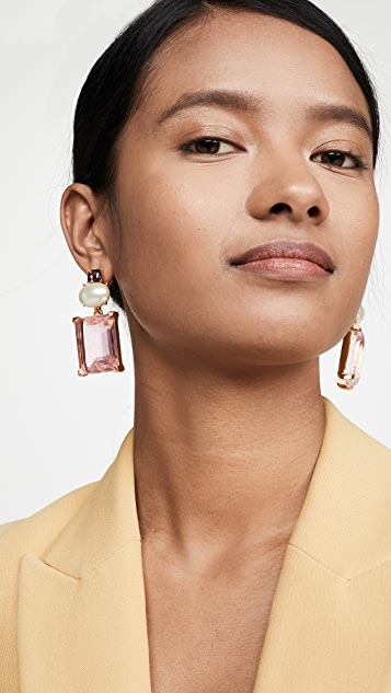 Kenneth Jay Lane Gold with Pearl Top and Pink Stone Drop Earrings