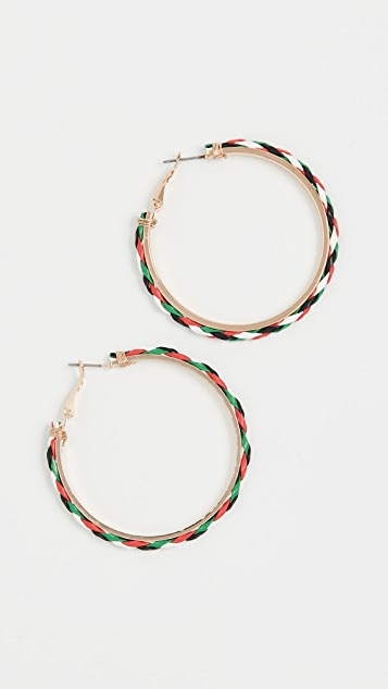 Kenneth Jay Lane Gold Multicolor Leather Hoop Earrings