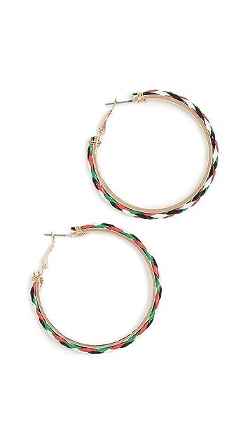 Kenneth Jay Lane Золотые серьги-кольца с разноцветной кожаной отделкой