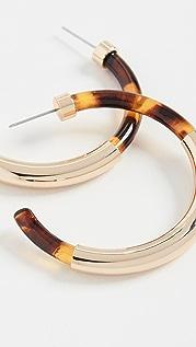 Kenneth Jay Lane Gold / Tortoise Hoop Earrings