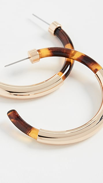 Kenneth Jay Lane Gold / Tortoise Hoop Earrings