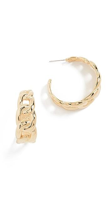 Kenneth Jay Lane Полированные золотые серьги-кольца из звеньев