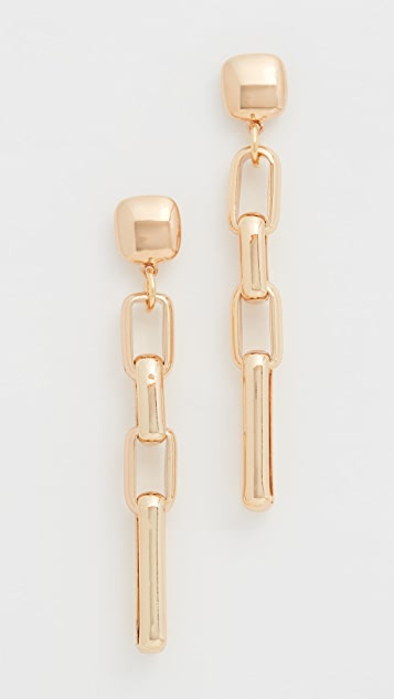 Kenneth Jay Lane Gold Square Top Rectangular Link Post Earrings