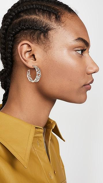 Kenneth Jay Lane Polished Link Hoop Post Earrings