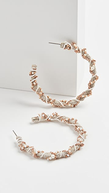 Kenneth Jay Lane Gold/White Threaded Seed Bead Post Hoops