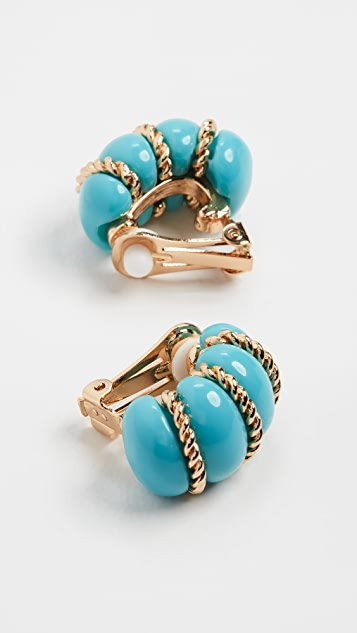 Kenneth Jay Lane Turquoise Resin Gold Wire Wrapped Shrimp Earrings