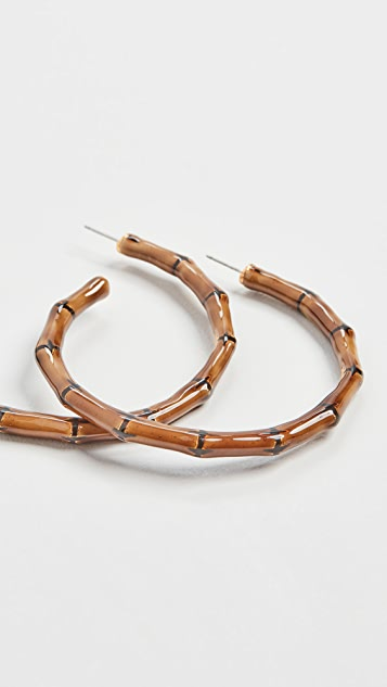 Kenneth Jay Lane Brown Black Enamel Bamboo Hoops