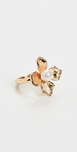 Kenneth Jay Lane - Gold Ring with Imitation Pearl Center Flower