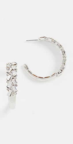 Kenneth Jay Lane - Rhodium With Crystal Front Earrings
