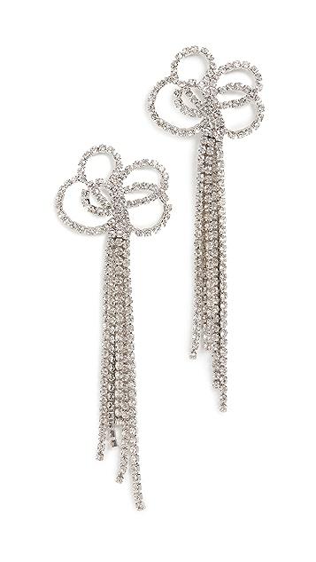Kenneth Jay Lane Silver Clear Crystal Pierced Earrings