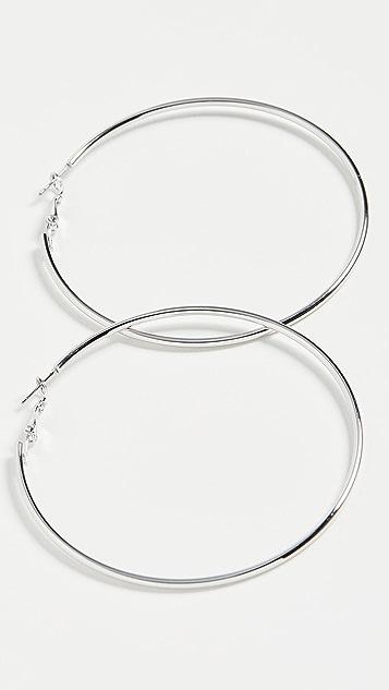 Kenneth Jay Lane Medium Silver Hoops