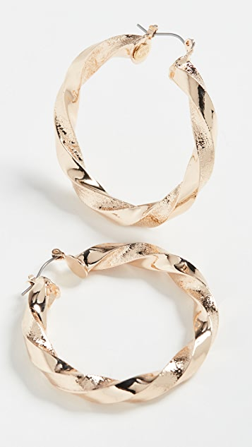 Kenneth Jay Lane Polished Gold Twisted Earrings