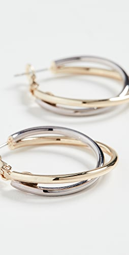 Kenneth Jay Lane - Gold and Silver Twist Hoops