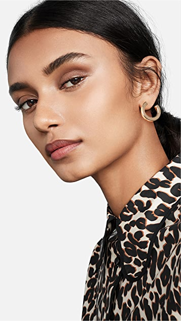Kenneth Jay Lane Small Polished Gold Open Hoops