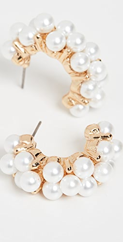 Kenneth Jay Lane - Cluster Imitation Pearl Half Hoops