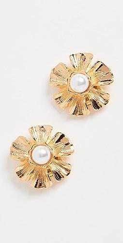 Kenneth Jay Lane - Pearl Center Flower Earrings