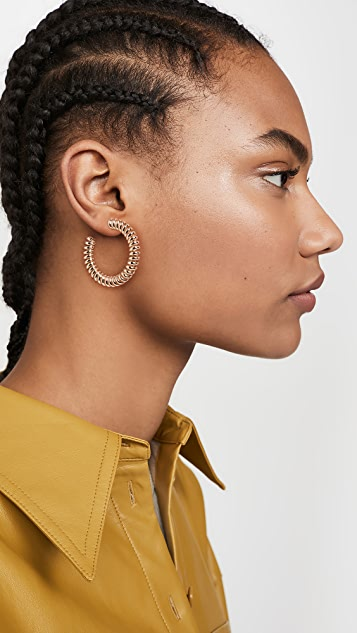 Kenneth Jay Lane Gold Coil Hoop Pierced Earrings