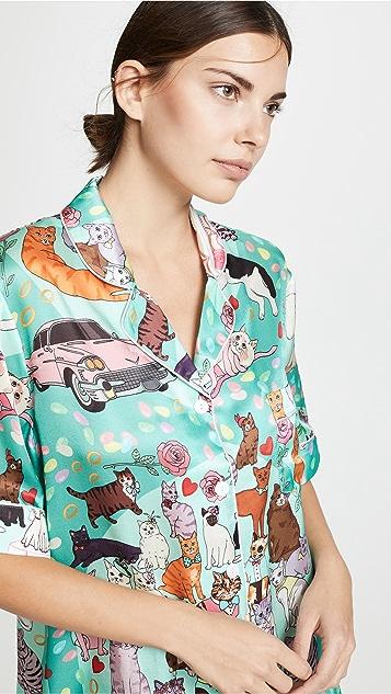 Karen Mabon Cat Wedding Shorts PJ Set