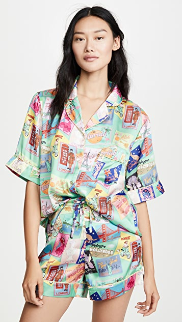 Karen Mabon Postcards Short Sleeve Pajama Set