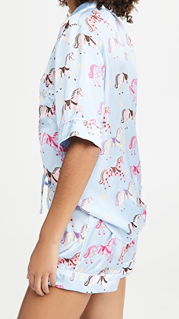Karen Mabon Carousel Blue Shorts Pajama Set