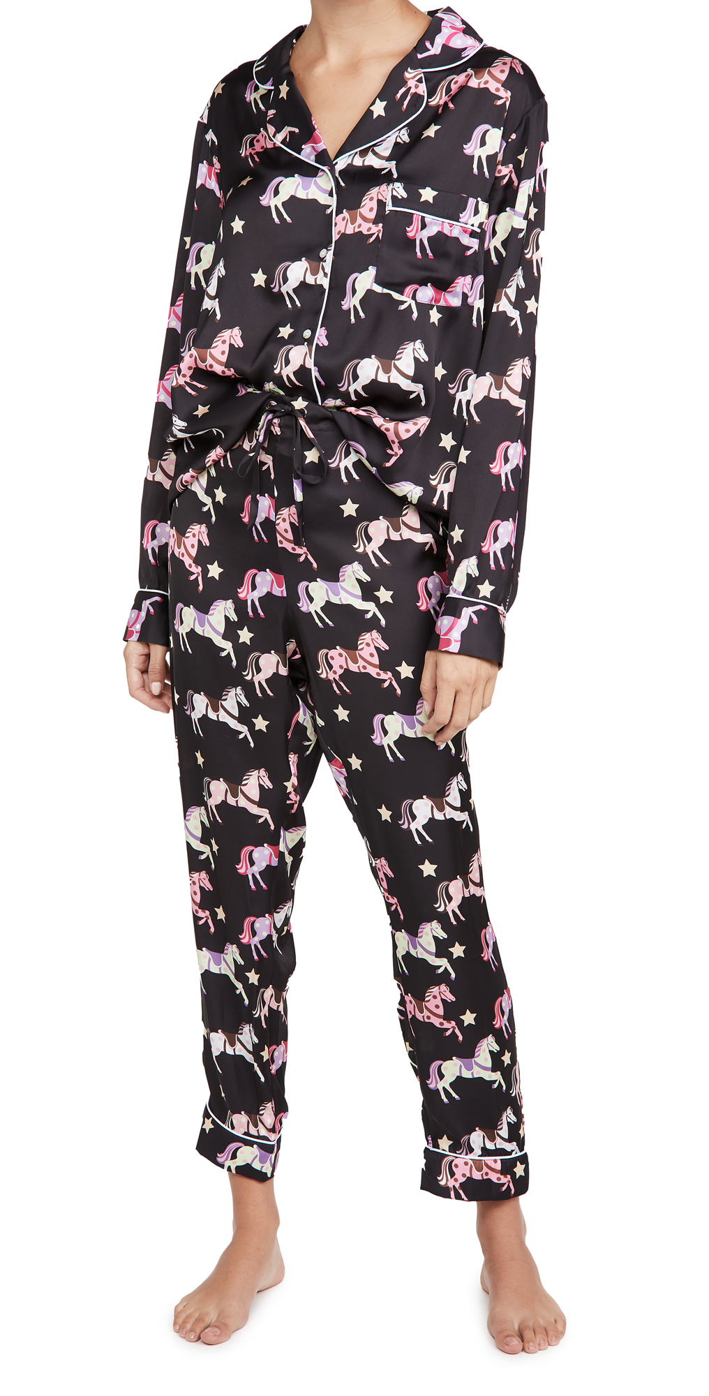 Karen Mabon Carousel Black Long Pajama Set