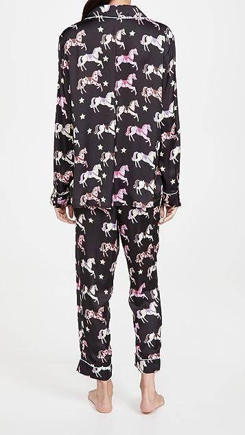 Karen Mabon Carousel Black Long Pajama Set