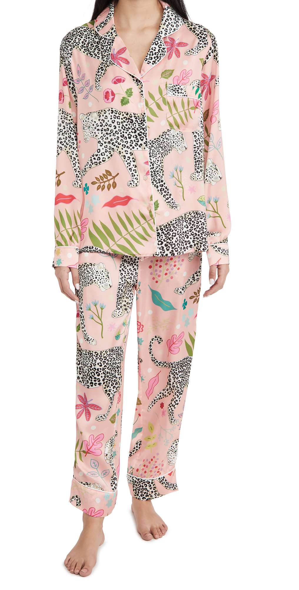 Snow Leopard Long Pajama Set