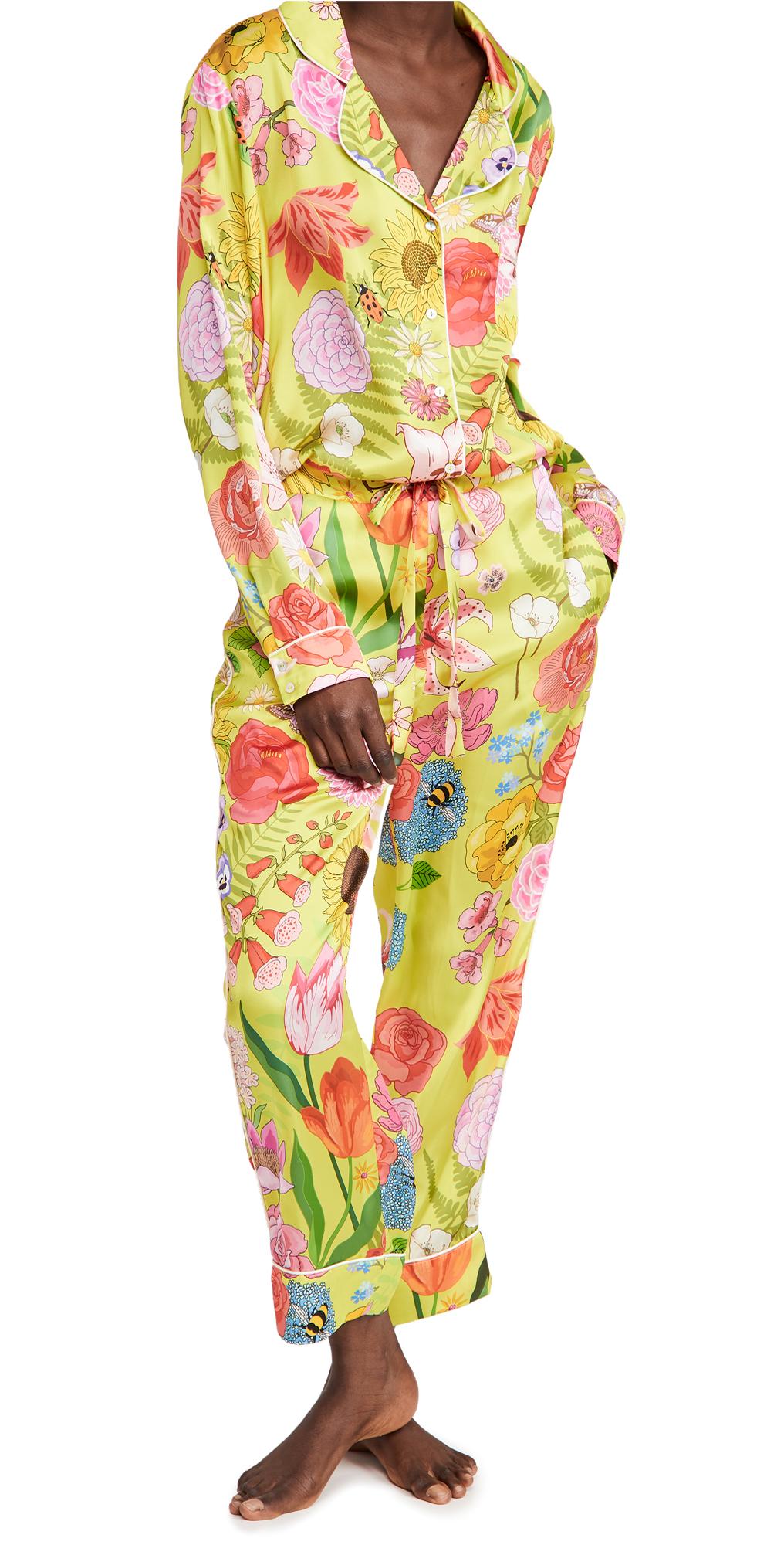 Karen Mabon Florist Lime Long Pajama Set