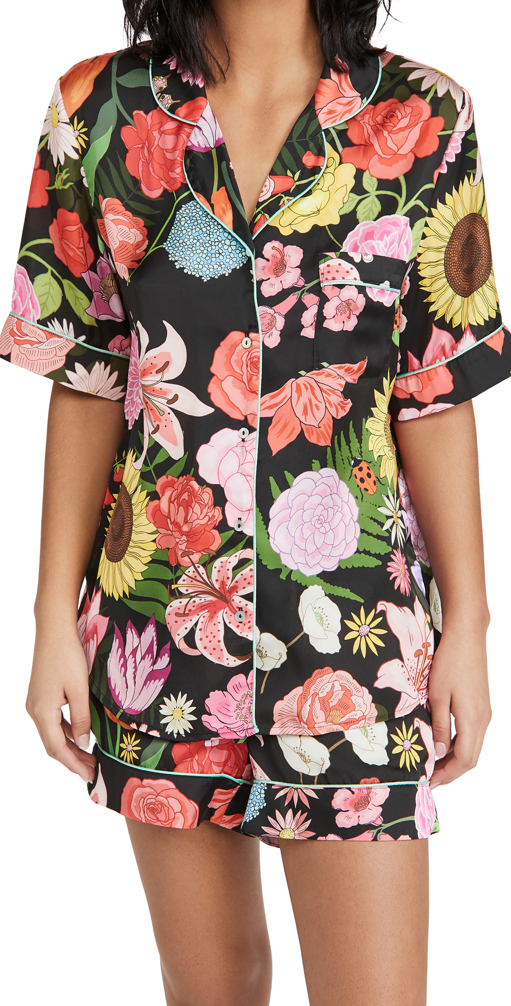 Karen Mabon Florist Black Short Pajama Set