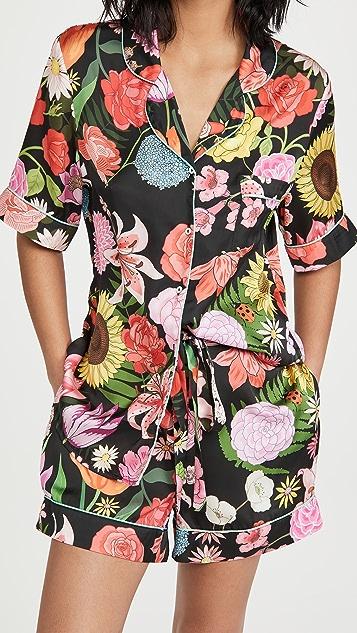 Karen Mabon Florist 黑色短睡衣套装