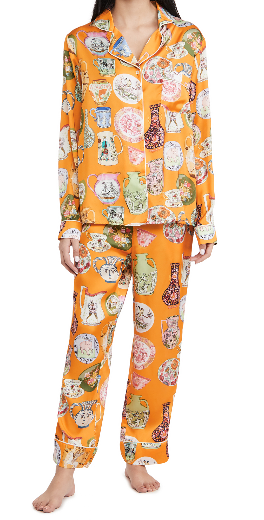 Karen Mabon Ceramics Orange Long Pajama Set