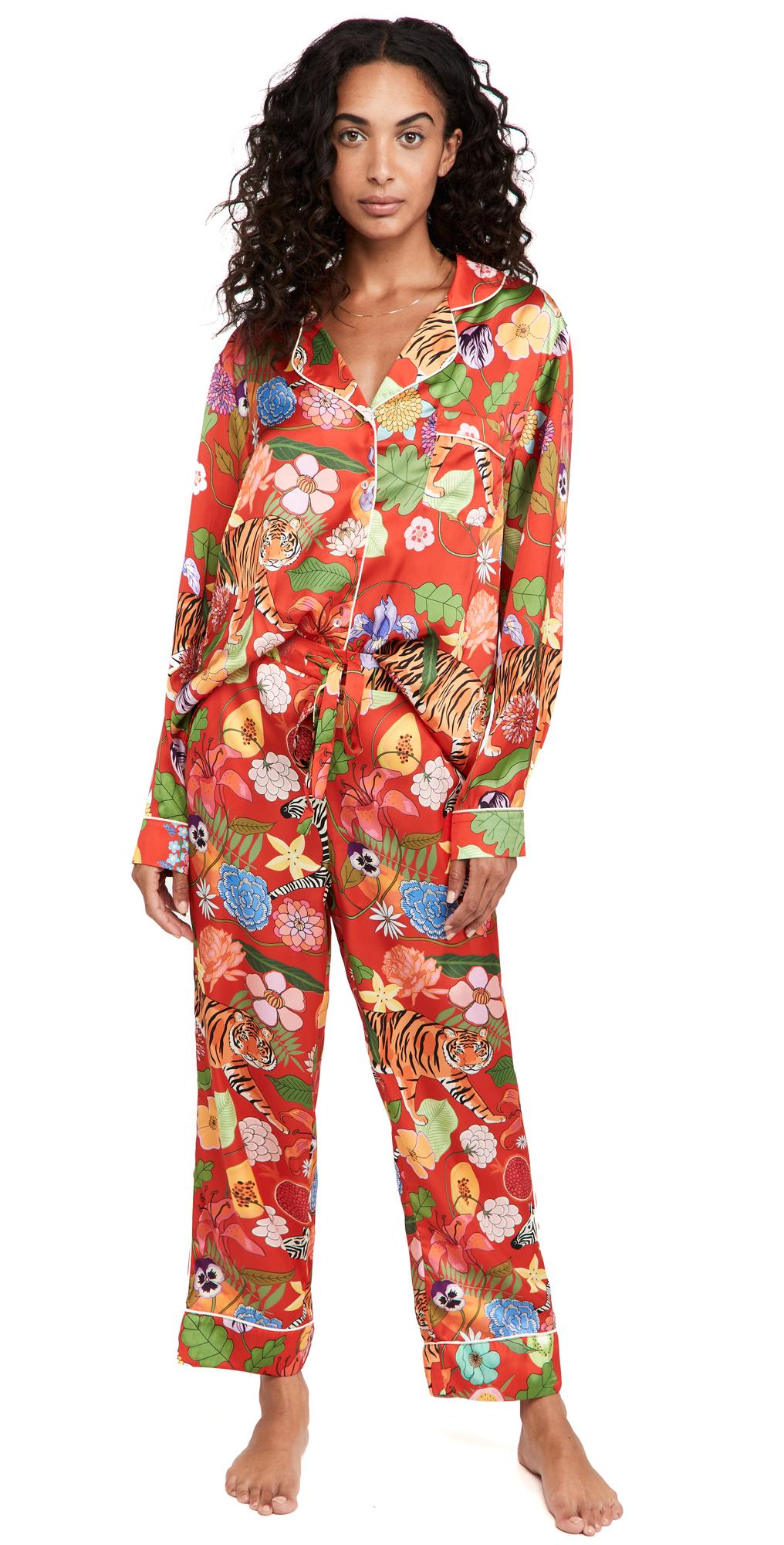 Tiger Bouquet Long Pajama Set