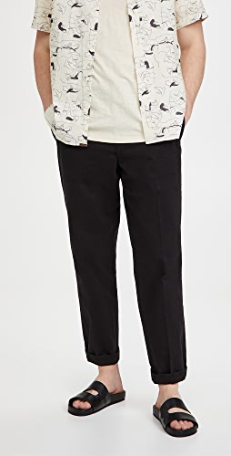 Knickerbocker - Flat Front Tapered Twill Trousers